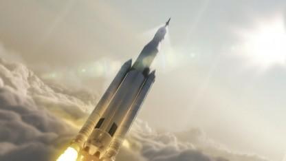 Künftige US-Trägerrakete Space Launch System: in den ersten 50 Jahren der Raumfahrt wenig Gedanken um Kollisionen von Weltraumobjekten gemacht