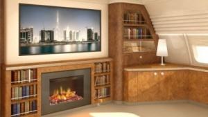 Fireless Fireplace - eine Flugzeugkabine wie ein Wohnzimmer.
