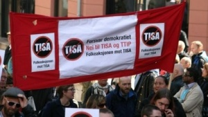 Protest in Oslo gegen Tisa im Mai 2015