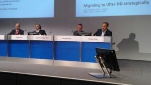 "Panel ""UHDTV - Technology Trends, Bandwidth Demands, Migration Strategies"" auf der Anga Com 2015"