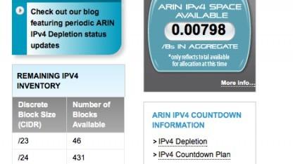 Nur noch wenige IPv4-Adressen sind bei der Registry Arin verfügbar.