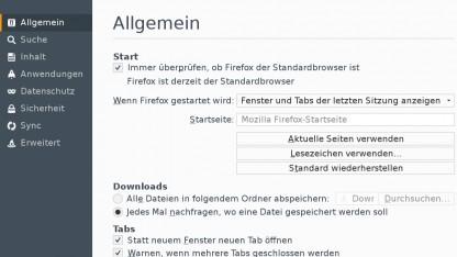 Das neue Aussehen der Firefox-Einstellungen nutzt bereits Webtechniken.