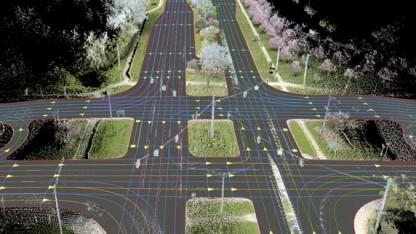 So sieht eine hochgenaue Karte von Nokia Here für autonome Autos aus.