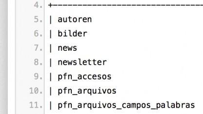 Screenshot mit einem Teil der Tabellennamen