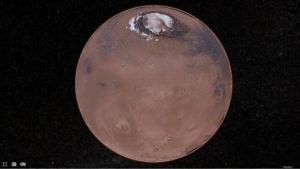 Mars Trek, 3D-Ansicht: fünf Mars-Missionen als Lesezeichen