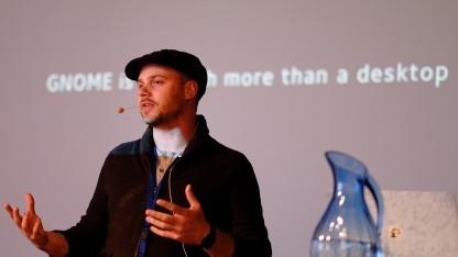 Christian Hergert bei seinem Vortrag auf der Guadec