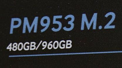 Die PM953 als M.2-Version zeigte Samsung am Stand nur hinter stark verspiegeltem Glas, daher haben wir kein Foto der SSD