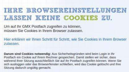 Wegen einer Sicherheitslücke müssen beim Zugriff über den Webmailer bei GMX, Web.de und 1und1 künftig Cookies gesetzt werden.