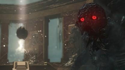 Screenshot des Lichtartefakts und Spielers der Flock