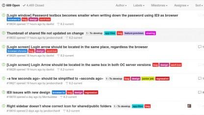 Der Bugtracker von Owncloud auf Github