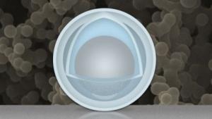 Schema des Nanopartikels mit Schale und  Dotter: einfache Herstellung, günstige Materialien