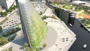 Farmscraper: Die Stadt der Zukunft versorgt sich selbst. (Bild: Plantagon/Sweco), Smart City