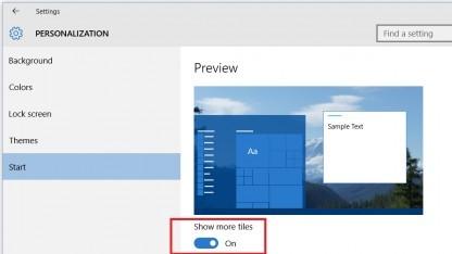 Windows-10-Startmenü erlaubt bis zu vier Kachelspalten.