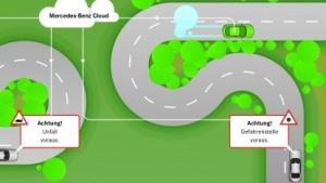 So stellt sich Daimler die Funktion seiner Car-to-X-Warnungen vor.