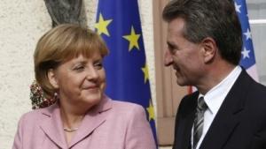 Einig in Sachen Netzneutralität: Bundeskanzlerin Merkel und EU-Digitalkommissar Oettinger.