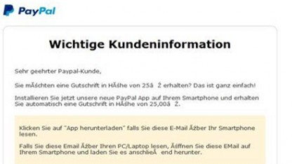 Screenshot der Phising-Mail