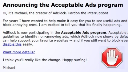 Adblock tritt der Acceptable-Ads-Initiative bei.