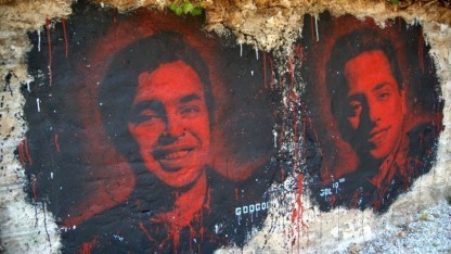 Ein Wandgemälde mit den Google-Gründern Sergey Brin und Larry Page
