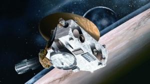 Künstlerische Darstellung der New Horizons in der Nähe des Pluto