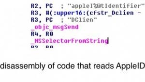 Ein Code-Fragment, das für das auslesen der Apple-ID verantwortlich sein soll.