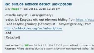 An dieser Stelle hat Adblock Plus Filterbefehle löschen müssen.