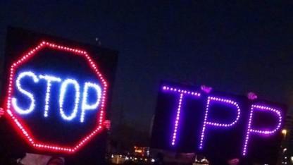 Protest gegen das Freihandelsabkommen TPP