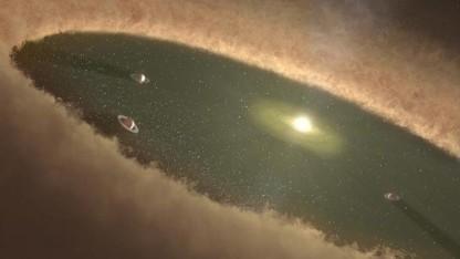 Sternensystem LkCa 15 mit drei Planeten: Signaturen von heißem Gas und Staub