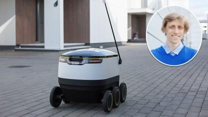 Der kleine Roboter soll auf dem Gehweg weniger bedrohlich wirken als Lieferdrohnen in der Luft.