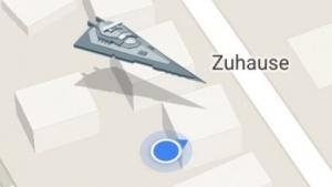 Maps auf dem iPhone mit aktivierter dunkler Seite der Macht