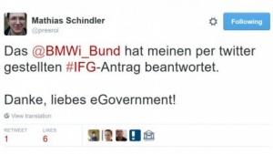 Das BMWi hat einen per Twitter gestellten IFG-Antrag beantwortet.