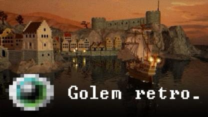 Ein Schiff segelt in den Hafen in Anno 1602.