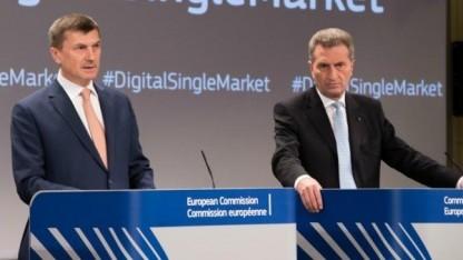 Die EU-Kommissare Ansip und Oettinger.