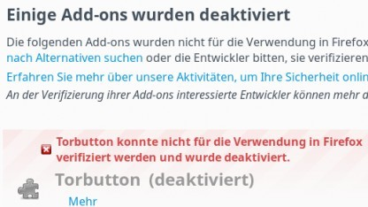 Firefox 43 unterbindet die Verwendung von unsignierten Addons.
