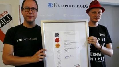 Beckedahl und Meister wurden vom Innenministerium ausgezeichnet - während der Generalbundesanwalt noch gegen sie ermittelte.