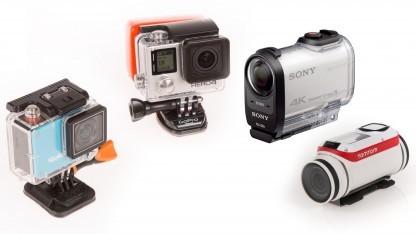 Rollei Actioncam 420, Gopro Hero 4 Black, Sony FDR X-1000 VR und Tomtom Bandit