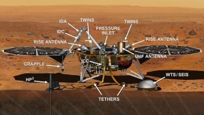 Der Lander der Insight-Mission: rechts unten das problematische SEIS-Bauteil
