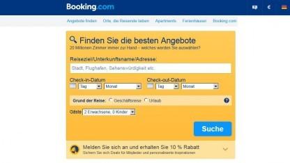 Deutsche Webseite von Booking.com