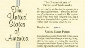 Ausschnitt aus einer US-Patenturkunde