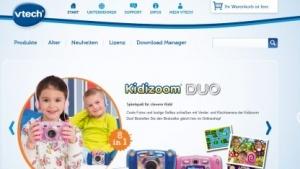 Die Vtech-Webseite wirbt mit Kinderspielzeug.