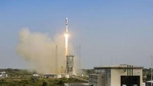 Start einer Sojus-Rakete (am 17. Dezember 2015)