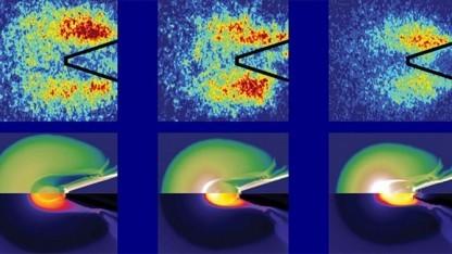 Visualisierung des Energieflusses: Laser muss auf die am stärksten verdichtete Region des Brennstoff gerichtet werden.