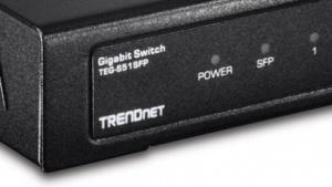 Trendnets Miniswitch bietet auch einen Schacht für GBIC-Module.