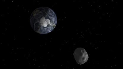 Asteroid 2012 DA14 passiert die Erde (Grafik).