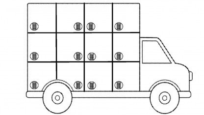 Googles Lieferwagen ist mit Schließfächern ausgerüstet.