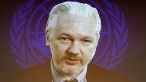 Julian Assange sagt per Videokonferenz bei einer UN-Anhörung aus.
