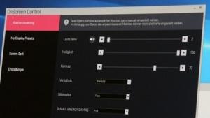 Das On-Screen-Control genannte Menü neuer LG-Displays