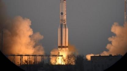 Die russische Proton-M-Rakete mit den Exomars-Gerätschaften beim Start in Baikonur