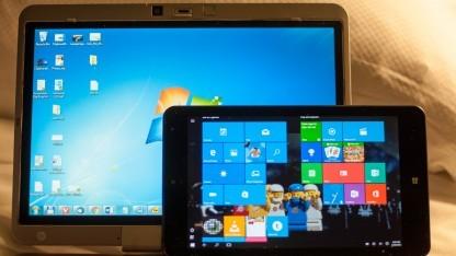 Einmal neu installieren bitte: das Elitebook 2740p (hinten, Windows 7) und das Thinkpad 8 (vorne Windows 10)