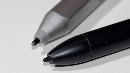 Wacom verbessert seine Stifte im Laufe des Jahres 2016 und übertrifft die hier zu sehenden N-Trig- und Wacom-Stifte deutlich.