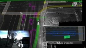 Screenshot einer Folie des ersten Unfalls, den ein Google-Auto verursacht hat, in Chris Urmsons Vortrag auf der SXSW